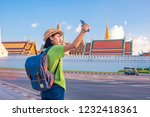 asian woman tourist travel... | Shutterstock . vector #1232418361
