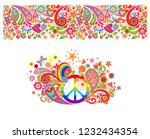 shirt print with hippie peace... | Shutterstock .eps vector #1232434354