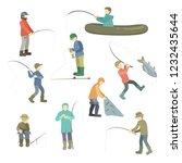 fishermen spend time fishing....   Shutterstock .eps vector #1232435644