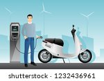 man charges an electric scooter ... | Shutterstock .eps vector #1232436961