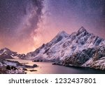 mountans and reflection on the... | Shutterstock . vector #1232437801