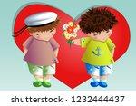 happy valentine's day. the boy... | Shutterstock .eps vector #1232444437