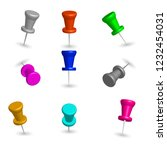 set of colored 3d pushpins ... | Shutterstock . vector #1232454031
