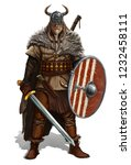 Viking With Sword And Shield O...