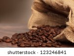 coffee beans in coffee bag made ... | Shutterstock . vector #123246841