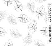 vector flower black white... | Shutterstock .eps vector #1232473744