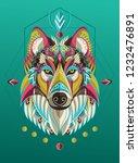 Stylized Colorful Wolf Portrai...