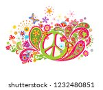 psychedelic t shirt print with... | Shutterstock .eps vector #1232480851
