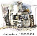 old stone oven | Shutterstock . vector #1232523994