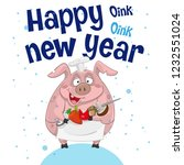christmas card pig happy oink... | Shutterstock .eps vector #1232551024