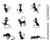 Stock vector the silhouette of black graceful cats 123256627