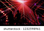 boy and girl dj silhouette on... | Shutterstock . vector #1232598961