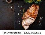 roasted sliced christmas ham of ...   Shutterstock . vector #1232606581