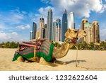 camel in front of dubai marina...   Shutterstock . vector #1232622604