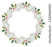 christmas wreath with round... | Shutterstock .eps vector #1232666401