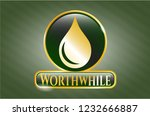 golden badge with drop icon... | Shutterstock .eps vector #1232666887