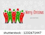 christmas elves greeting card | Shutterstock .eps vector #1232671447