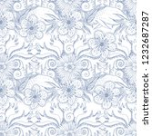 flower doodles seamless pattern.... | Shutterstock .eps vector #1232687287