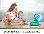cute child learning a lesson... | Shutterstock . vector #1232718757