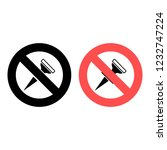 push pin ban  prohibition icon. ...