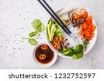 bun cha salad bowl. vietnamese... | Shutterstock . vector #1232752597