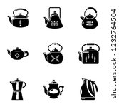 evening tea icons set. simple... | Shutterstock .eps vector #1232764504