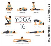 set of yoga poses in flat... | Shutterstock .eps vector #1232785711