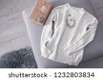cozy knitted sweater with... | Shutterstock . vector #1232803834