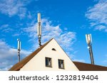 Cell Tower On A Rooftop In...