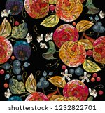 embroidery apples and plums ... | Shutterstock .eps vector #1232822701