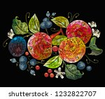 embroidery apples and plums ... | Shutterstock .eps vector #1232822707