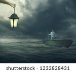man standing on boat watching... | Shutterstock . vector #1232828431