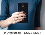 black mobie smart phone in... | Shutterstock . vector #1232843314