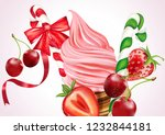 christmas ice cream cone with... | Shutterstock .eps vector #1232844181