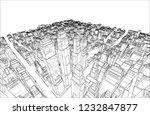 wire frame city  blueprint...   Shutterstock .eps vector #1232847877
