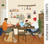 vector gouache painted flat... | Shutterstock .eps vector #1232886571