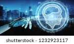 white humanoid hand on blurred... | Shutterstock . vector #1232923117
