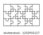 15 white puzzles pieces... | Shutterstock . vector #1232932117