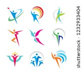 set of abstract colorful human... | Shutterstock .eps vector #1232933404