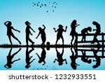silhouette of children playing... | Shutterstock .eps vector #1232933551