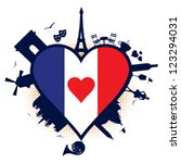 France Heart Shaped Flag And...