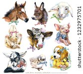 Stock photo farms animal set cute domestic pets watercolor illustration 1232975701