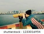 hipster man wearing american... | Shutterstock . vector #1233016954