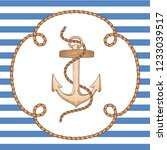 anchor in rope frame on striped ... | Shutterstock .eps vector #1233039517