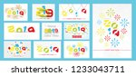 2019 mega collection  happy new ... | Shutterstock .eps vector #1233043711
