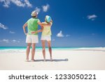couple in bright clothes having ... | Shutterstock . vector #1233050221