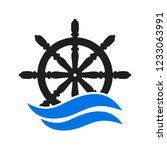ship and boat helm steering...   Shutterstock .eps vector #1233063991