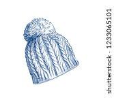 hand drawn knitting hat sketch... | Shutterstock .eps vector #1233065101