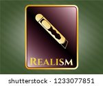 gold emblem with cutter icon...   Shutterstock .eps vector #1233077851