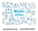 winter clothes outline icon set....   Shutterstock . vector #1233095494